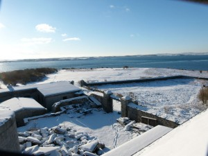View from the top of the old lighthouse on Copeland Bird Observatory