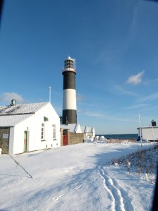 Mew LIghthouse in the snow